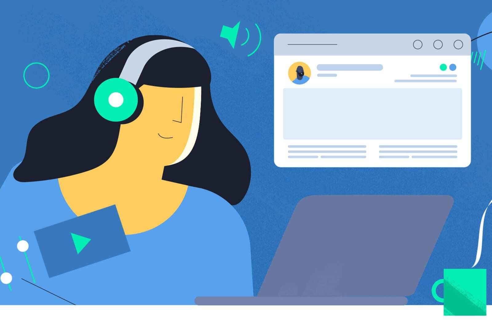 Acast Access 2D character listening to music on laptop with coffee motion graphics animation